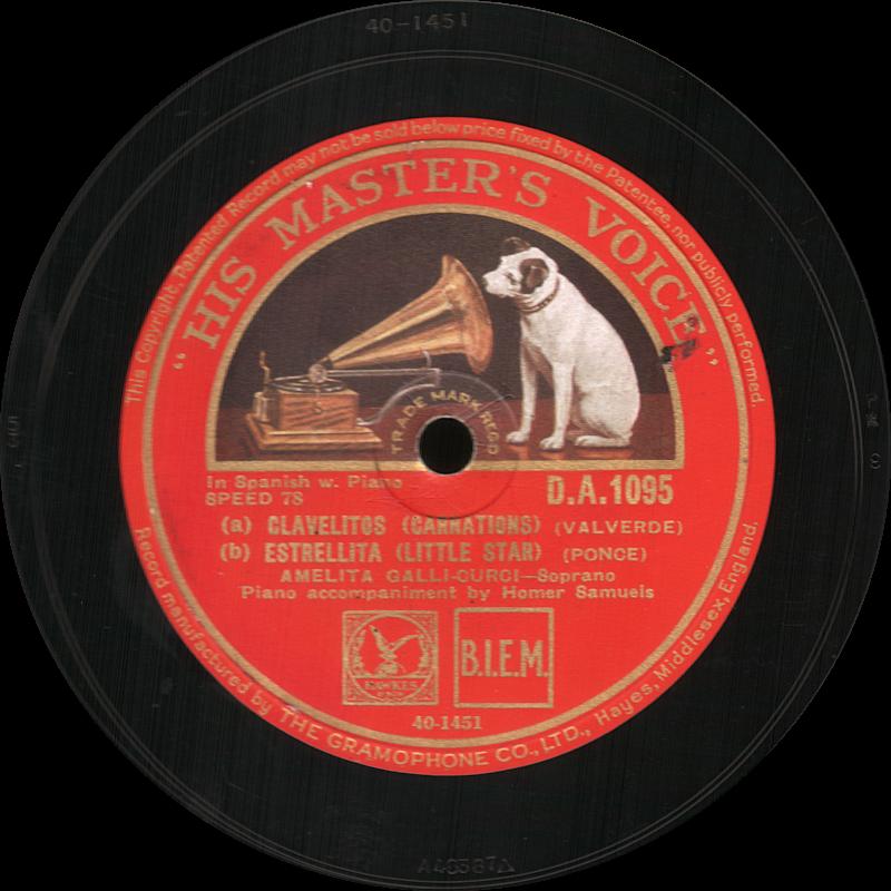 Clavelitos, Estrellita, His Master s Voice, Amelita Galli-Curci, шеллак, старая пластинка