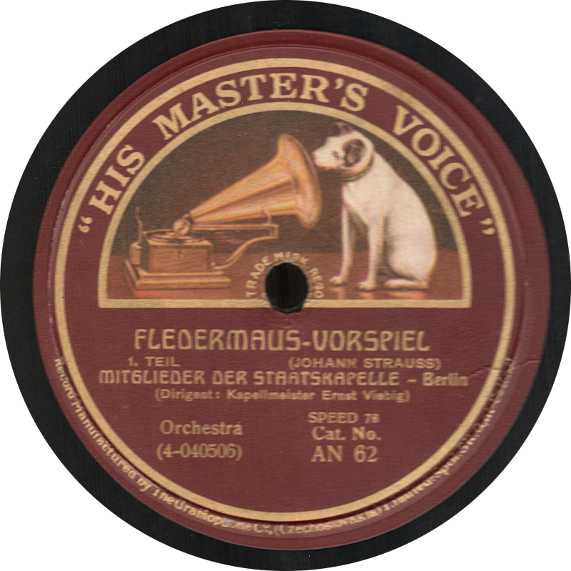 Fledermaus-Vorspiel, Mitglieder der Staatskapelle Berlin, Johann Strauss, His Master s Voice, шеллак, старая пластинка