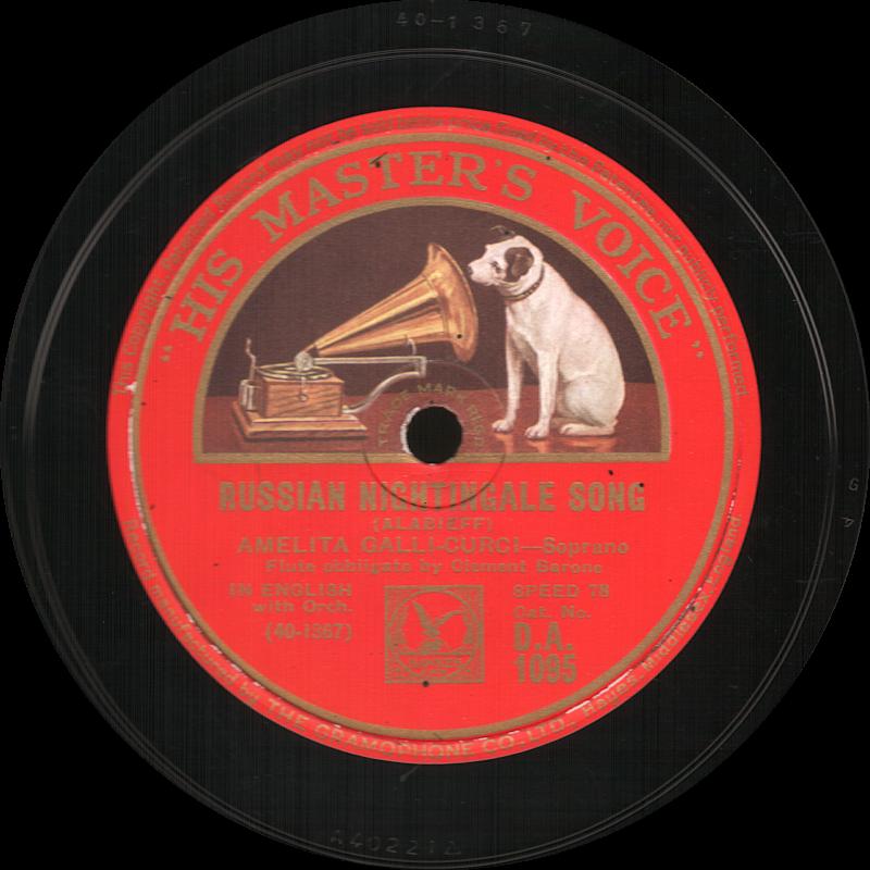 Russian Nightingale Song, Александр Александрович Алябьев, Amelita Galli-Curci, His Master s Voice, шеллак, старая пластинка